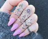 O vintage silver color stone midi finger rings ethnic gothic knuckle set for women thumb155 crop