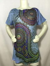 Boat Neck Pullover Tee Shirt Paisley Tribal One World L Large Women Pala... - $24.50