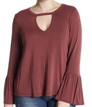 H.I.P. Gigi Women Bell Sleeve Flounce Front Keyhole Shirt Plus 1X Wine K... - $18.61