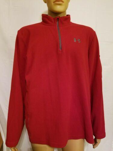 Under Armour Red Fleece Jacket Half Zip Long Sleeve Mens Size XL Extra Large UA  image 2