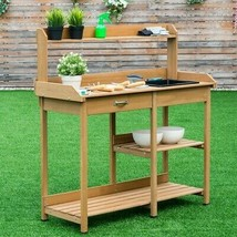 Garden Wooden Planting Potting Bench Table with Shelves - $130.62