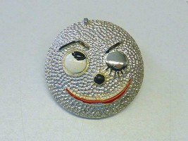 July 20 1969 Winking Smile Moon Pin Brooch APOLLO 11 First to Moon Vintage - $18.99