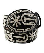 Men's Embroidered Leather Belt Horseshoe Design Black - €44,89 EUR