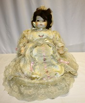 """Vintage 17"""" Porcelain Doll  with 24"""" Dress Unknown Maker Brown Hair / Ey... - $39.59"""