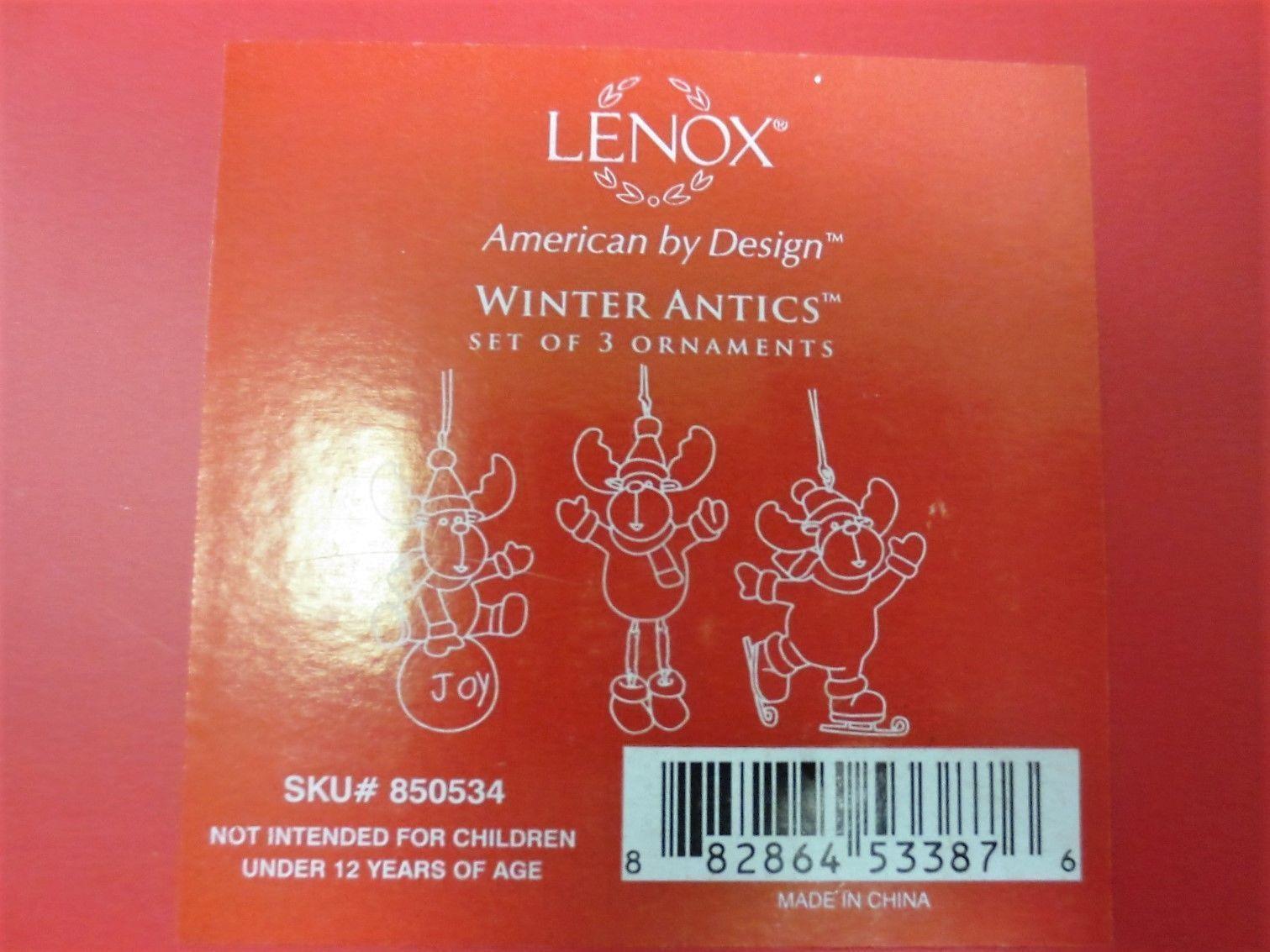 Lenox Christmas Moose Ornament Set of 3 Ice Skating Snowball Winter Antics  NEW