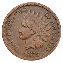 """1875 Indian Cent 1C Fine Condition Brown Color, """"LIBERTY"""" readable - $59.39"""