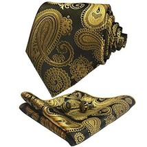 CANGRON Gold Paisley Tie Woven Men's Necktie Pocket Square Cufflinks Set LSP8HJ