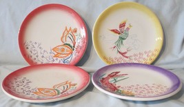 Macy's The Cellar Accent Salad Plate Oriental Topic Set of 4 Yellow Pink... - $28.60