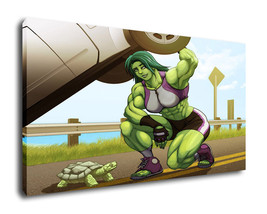 "Oil Painting Print On Canvas Modern Decor Wall Art""She Hulk Tortoise"" Frame - $12.86+"