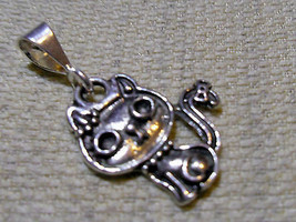 """925 Sterling Silver Cat Pendant 1 """" Hallmarked In The Uk - $29.39"""