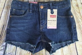 Levis Girls Shorty Short Jet Set Distressed 6X Reg Adjustable Waist Children - $8.90