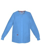 Dickies Scrub Jacket L Round Neck Malibu Blue Round Neck Warmup 84306 New - $21.53