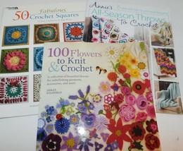 Lot of 3 CROCHET Books 100 Flowers Knit/Crochet Throws Squares Rita Weiss - $19.75