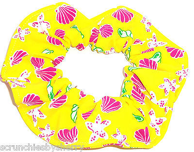 Primary image for Yellow Pink Sea Shells Starfish Spandex Hair Scrunchie Scrunchies by Sherry