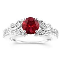 1.38 Carat Garnet Butterfly Engagement Ring 14k white Gold Certified Han... - $1,500.00