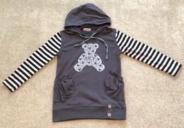 Lot5 Girl Sweatshirt Sweater Hoodie Jacket Hooded Brown Striped Black White L/XL - $25.20