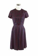 Navy blue red polka dot short sleeve vintage day dress S - $59.99