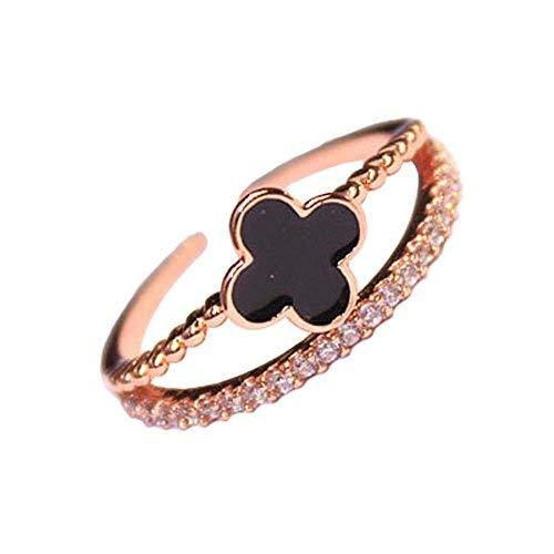 Simple Wild Fashion Unique Ladies Accessories Concise Style Clover Diamond Ring