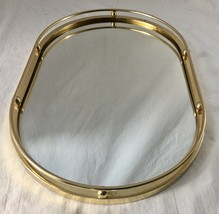 Vintage Gold Vanity Mirror Tray Oval Ball and Rail Design Dresser Table ... - $24.95