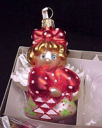 6 Blown Glass Angel Christmas Tree Ornaments Red Cherry Basket Box of Six