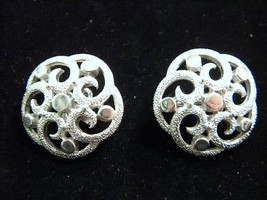 Crown Trifari Silver Tone Scroll Vintage Clip on Earrings Sharp - $16.79