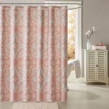 "Luxury Coral & Aqua Medallion Cotton Fabric Shower Curtain - 72"" x 72"" - $47.49"