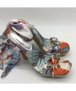 """W.D Collection Floral Fabric Ankle Wrap Sandals 5"""" Heels Open Toe, Size 7.0 - $24.75"""