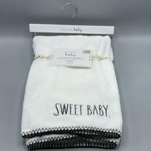Rae Dunn SWEET BABY Soft Plush Baby Throw Blanket White 30 x 40 - $19.79
