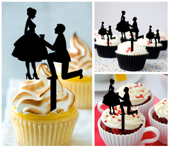 Wedding,Birthday Cupcake topper,silhouette Will You Marry Me Package : 10 pcs - $10.00
