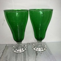 Vintage Green Anchor Hocking Boopie Footed Ice Tea Water Goblet Glasses ... - $28.71