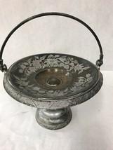Vintage Metal Pedestal  plate platter cake Etched  handle Silver plate Co. - $22.36
