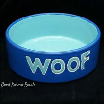 Ceramic Small Pet Dog Food Water Bowl Dish Blue Aqua Woof - $11.02