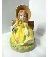 Vtg Josef Originals Music Box Girl Puppy on Bench Works Plays Autumn Lea... - $47.47