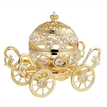 CRYSTAL ELEMENTS STUDDED GRAND PUMPKIN COACH CARRIAGE 24K GOLD PLATED #C... - $175.17