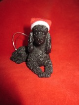 New Santa's  French Poodle Dog  Sandicast Ornament - $12.19