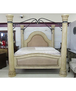 Collezione Europa Brazilian Cherry Panel Canopy Leather Bed Light Dune - $3,889.00