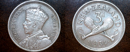 1934 New Zealand 3 Pence World Silver Coin - $24.99