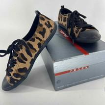 Prada Leopard Print Calf Hair Low Sneaker Womens 36.5 - $250.00