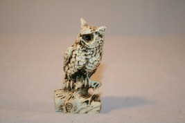 Owl Figurine On Log Made In Mexico Spooky Resin - $6.99