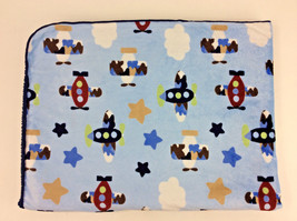 Circo Navy Blue Airplanes Stars Clouds Baby Blanket Sherpa Fleece Velour  - $1.111,58 MXN