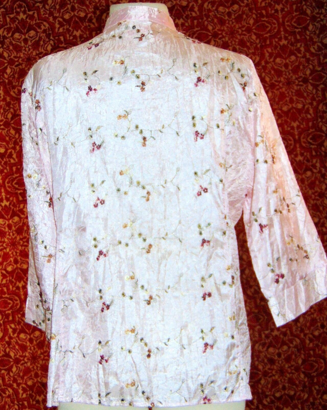 CLAUDIA RICHARD pink floral polyester 3/4 sleeve button blouse M (T43-04E9G) image 6