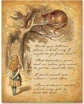 Alice Speaks to Cheshire Cat - 11x14 Unframed Alice in Wonderland Print-... - $15.73