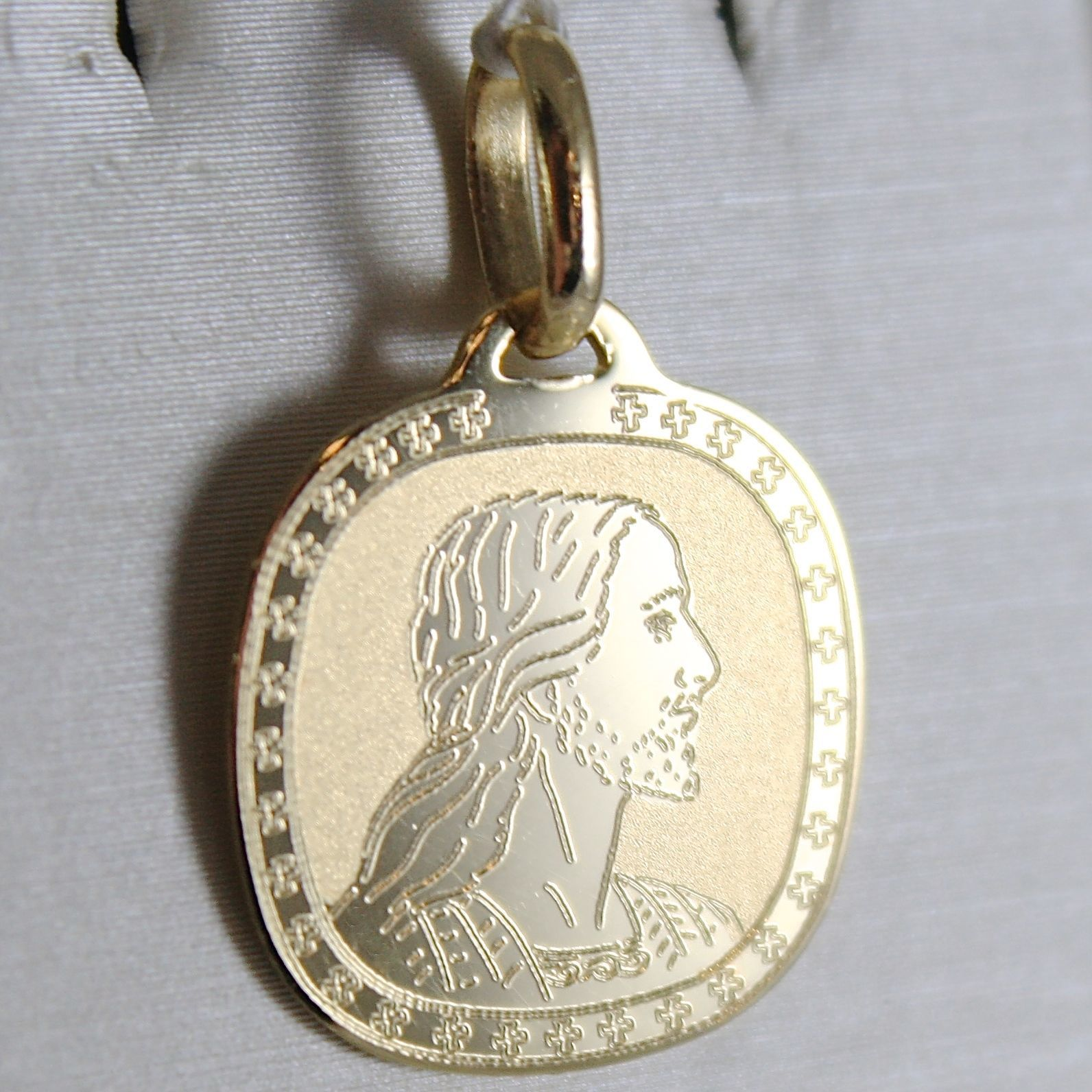 PENDENTIF MÉDAILLE OR JAUNE 750 18K, VISAGE CHRIST, CARRÉ, MADE IN ITALY