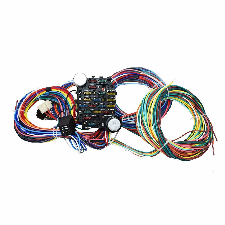 21 Circuit Wiring Harness Street Hot Rat Rod Custom Universal Wire Kit XL WIRES