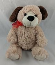 """Tan Brown Dog Plush 12"""" Red Ribbon Stuffed Animal toy - $6.95"""