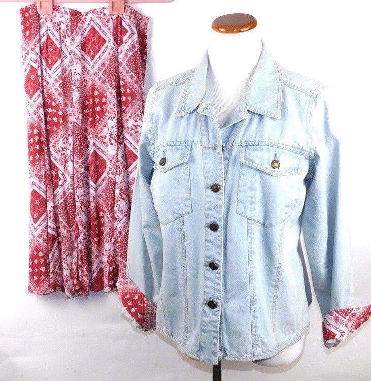 DENIM & CO Women's 2-Pc Outfit Denim Shirt Jacket Mid-Calf Length Skirt SZ M EC