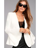Stunner Night Visions White Cropped Blazer Bell Sleeves Padded - New Small - $60.00