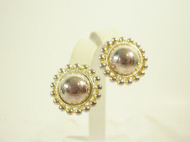 Premier Silver Gold Plate Dome Beaded Frame Clip Earring Elegant Classic... - $14.80