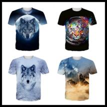 2017 Cool Animals Wolf Womens/Mens 3D Print T-Shirt Sleeve Tops Casual S-5XL U43 - $35.70