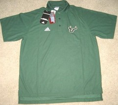 ADIDAS USF SOUTH FLORIDA BULLS COACHES POLO SHIRT L LRG LARGE GREEN - $33.65